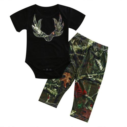 2 Pcs Infant Deer Camouflage Romper