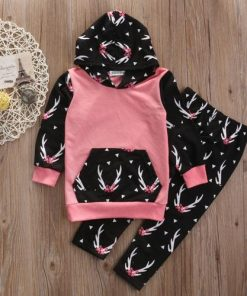2 Pcs Pink Deer Infant Clothing