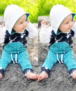 2Pcs Newborn Toddler Kids Baby Boy Girl Deer Top Hoodie Pants Outfits Set Clothes
