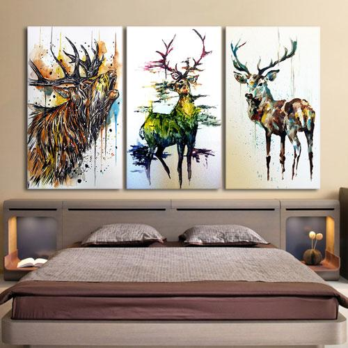3 Pieces Elk Graffiti Deer Canvas Painting