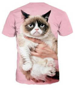 3D Grumpy Cat Pink T-shirt