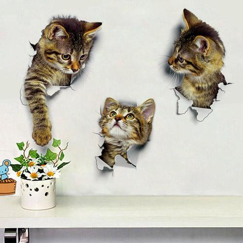 3D Cat Wall Creative Stickers