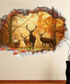 3D Forest Deer Autumn Wall Sticker