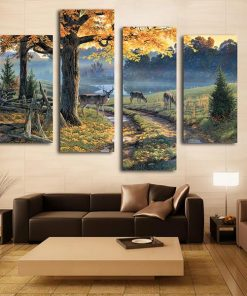 Beautiful Deer Around the River Landscape Canvas Art