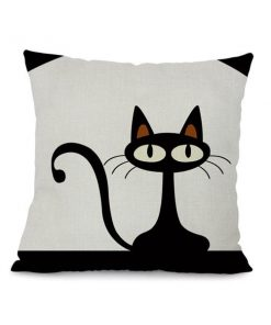 Black Cartoon Cat Throw Pillow