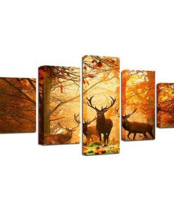5 Panel Animal Deer Canvas Painting Framework