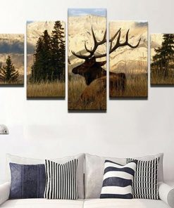 5 Panel Animal Deer Canvas Home Decor