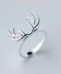 Adjustable Silver Deer Antlers Ring