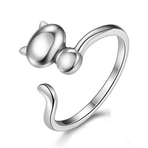 925 Sterling Silver Open Adjustable Cat Ring