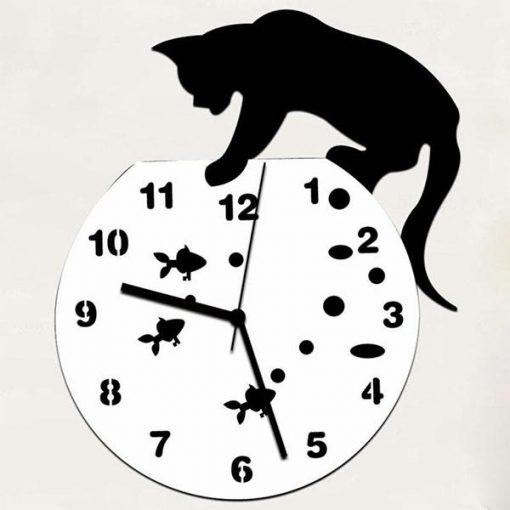 Acrylic Mirror Playing Cat Clock