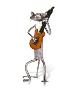 Amazing Singing Playing Saxophone Guitar Cat Handmade Metal Sculpture