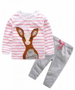 Autumn Striped Deer T-shirts Pants Set