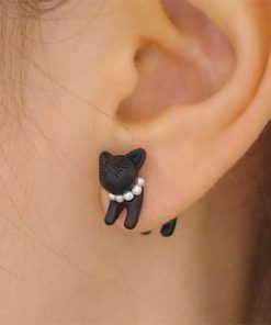 Black Cat Pearl Stud Earrings