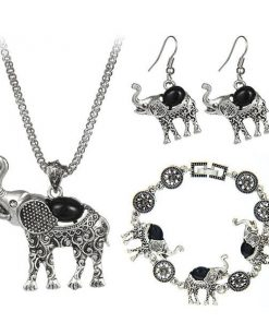 Bohemian Style Elephant Jewelry Set (Necklace, Earring, Bracelet)