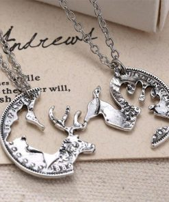 Buck and Doe Pendant Necklace Set