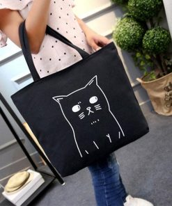 Cartoon Cat Design Tote Bag