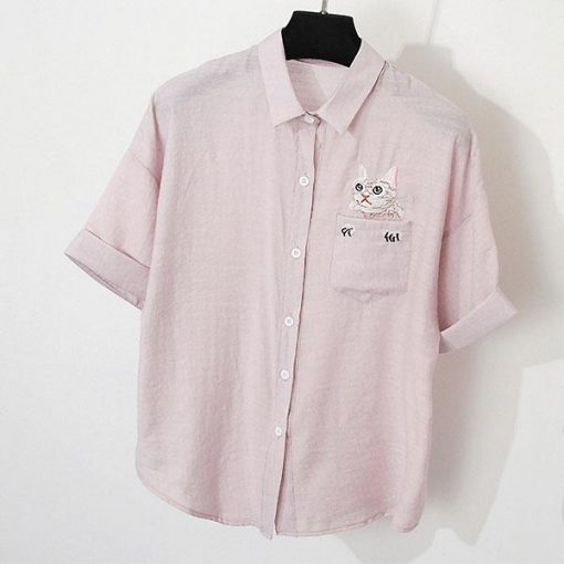 Cat Embroidery Blouse Shirts