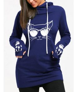 Cat and Paw Print Drawstring Hoodie