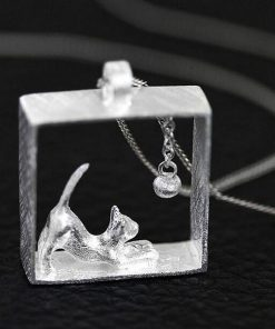 Cat in the Box 925 Sterling Silver Necklace