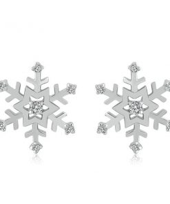 Christmas Snowflakes Silver Earrings
