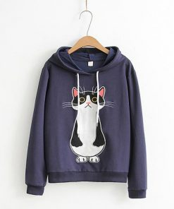 Cute Cat Cartoon Long Sleeve Hoodie
