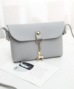 Deer Pendant PU Leather Crossbody Shoulder Bag