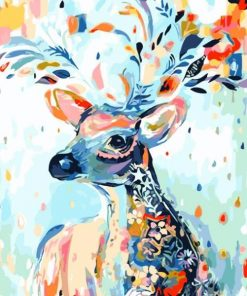 Abstract Cartoon Deer Hand Painted Canvas