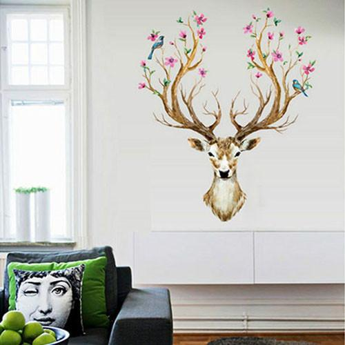 3D Plum Flower Deer Wall Stickers