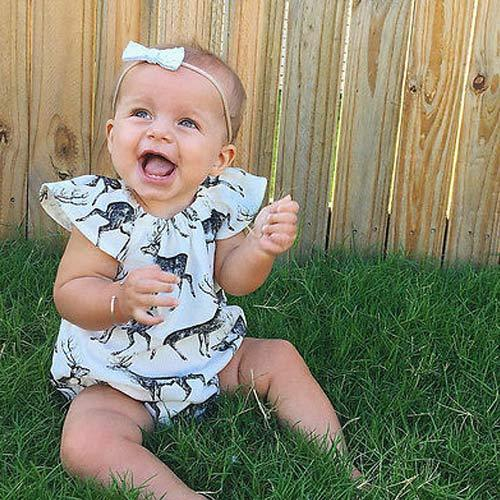Ruffles Deer White Sleeveless Infant Romper