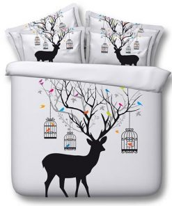 Birds on Deer Duvet Set