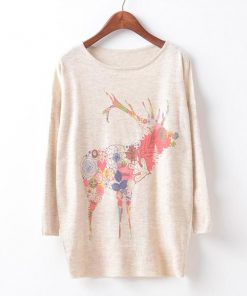 Batwing Sleeve Deer Sweater