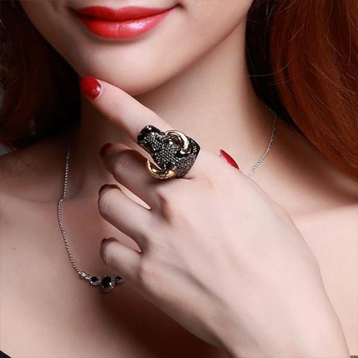 Black Gold Plated Cow Head Ring