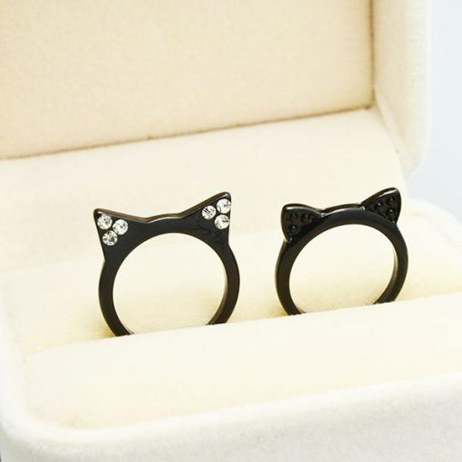 Black Cat Ears Stack Ring
