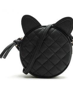 Cat Ear Black Leather Messenger Bag