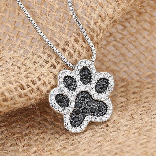 Charming Crystal Dog Paw Necklace