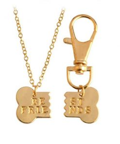 Bestfriends Dog Bone Necklace & Keychain Set