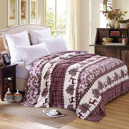 Burgundy Deer Coral Fleece Blanket