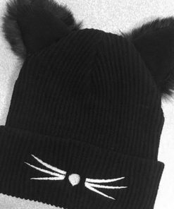 Black Cat Ears Knitted Bonnet