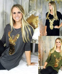 Christmas Reindeer Ladies Casual Tops