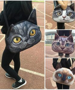 3D Cute Cat Face Messenger Bag