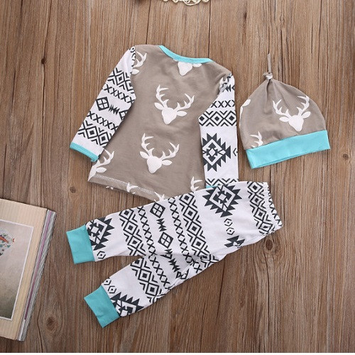 Aztec Deer 3Pcs Infant Clothing