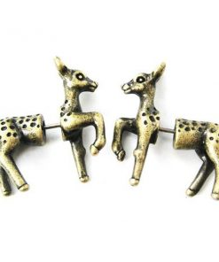 3D Deer Plug Earrings
