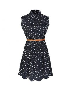 Cat Paw Print Casual Sleeve Summer Dress