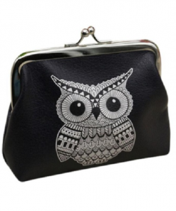 Aztec Owl Leather Coin Purse