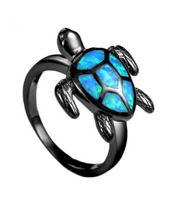 Blue Opal Turtle Cocktail Ring